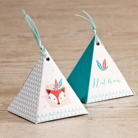 Boîte à dragées pyramide garçon thème indien