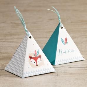 boite dragees pyramide garcon theme indien