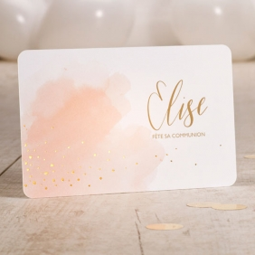 Carte d'invitation communion aquarelle rose et dorure.