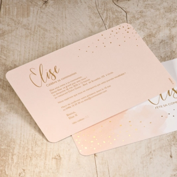 Carte d'invitation communion aquarelle rose et dorure