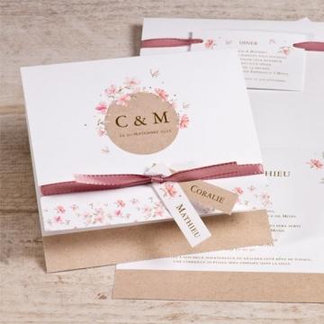faire part mariage fleurs printanière