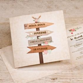 faire part mariage pancarte champêtre et détails dorés