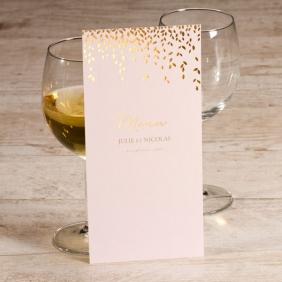 menu mariage rose et laurier doré