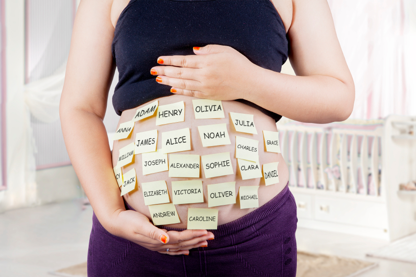 Pregnant belly with baby names choices