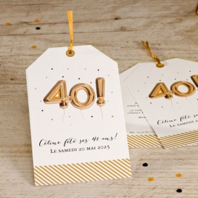 Carte invitation ballons 40 ans