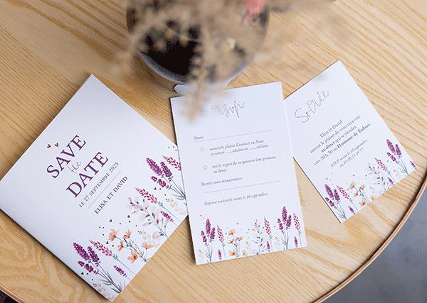 Invitation mariage fleurs séchées